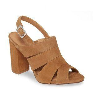 NWT Halogen tan Suede Leather Heel Sandal 10M